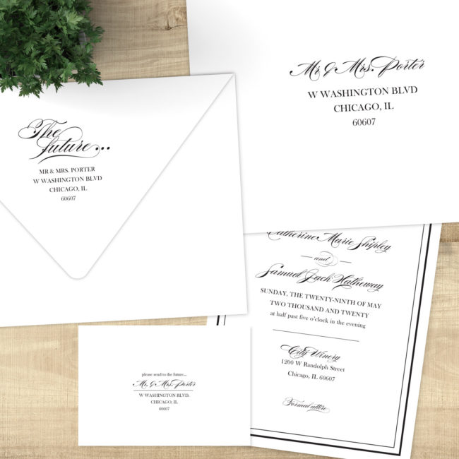 Catherine Ball - Black and white wedding invitations
