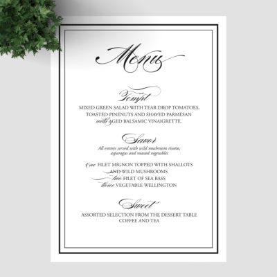 Catherine Ball - Black and white wedding menus