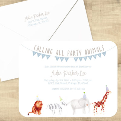 Calling All Party Animals Birthday Invitations