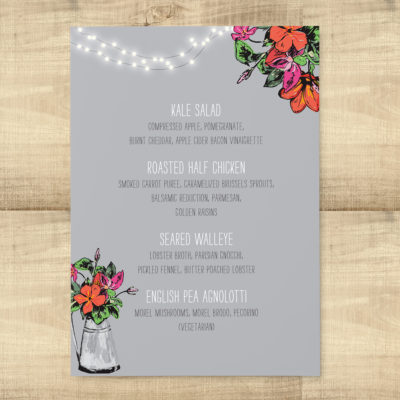 Rustic Floral Lights Dinner Menus