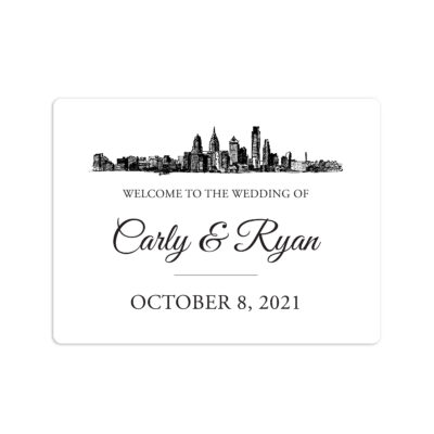 Skyline Destination Wedding Welcome Sticker 4x3""