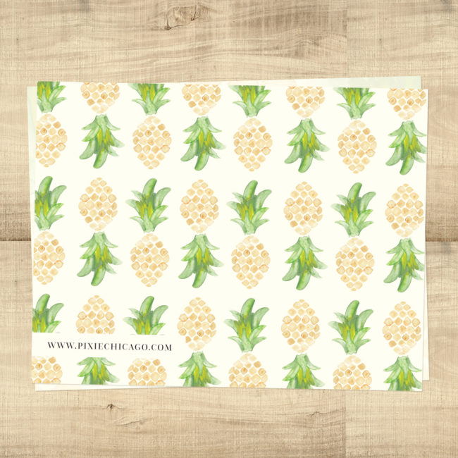 Pineapple Tropical Blank Inside Thank You Cards - Backside
