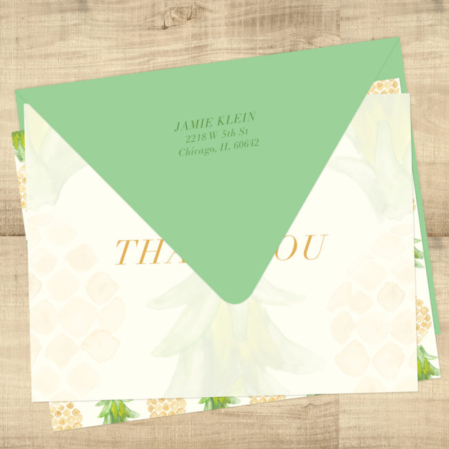 Pineapple Tropical Blank Inside Thank You Cards - Return Address Printing