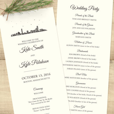 Boston Skyline Wedding Program