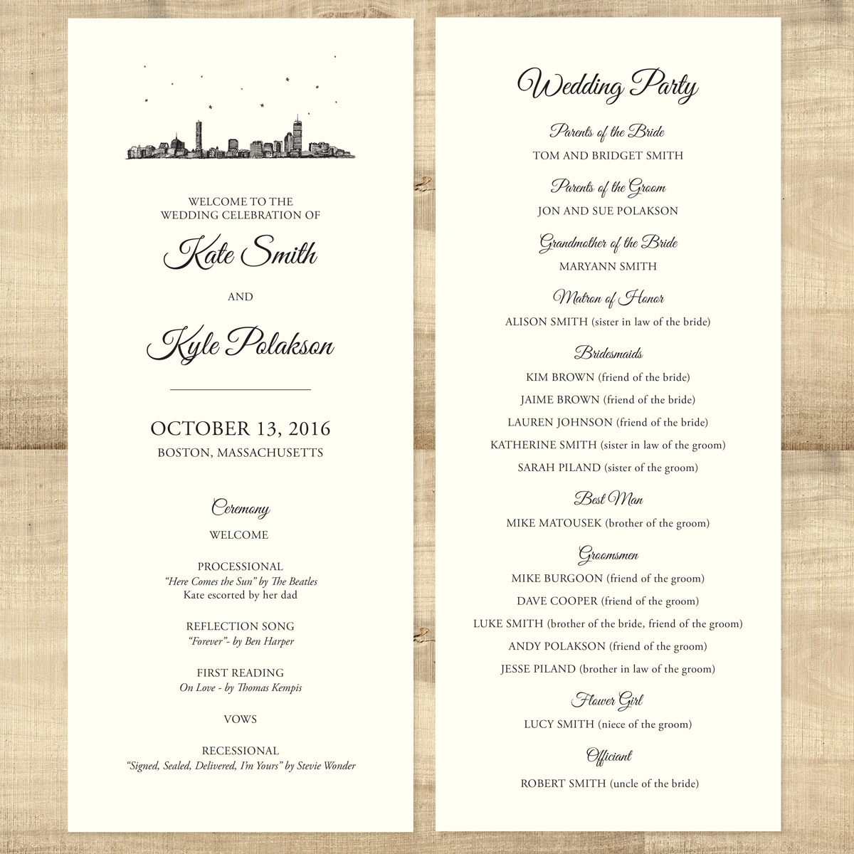 city skyline double sided wedding program pixie
