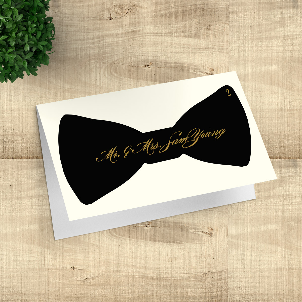 Bowtie Escort Cards with Faux Calligraphy - Black Bowtie - Pixie