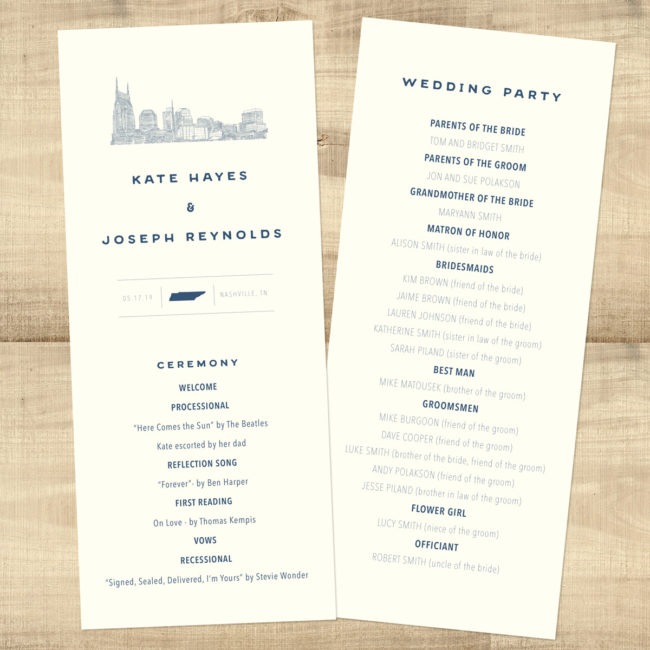 Center State Double Sided Skyline Wedding Program - Pixie