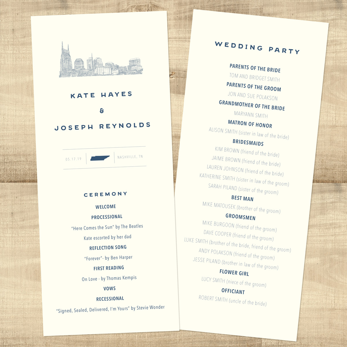center state city skyline wedding programs pixie