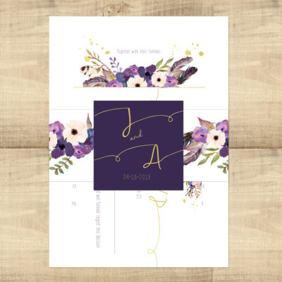 Gold Floral Boho Wedding Invitation Suite