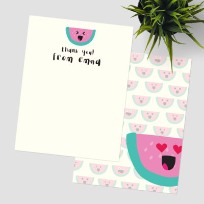Watermelon Emojis Thank You Stationery