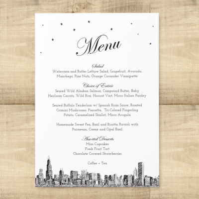 Diagonal Skyline Wedding Menu