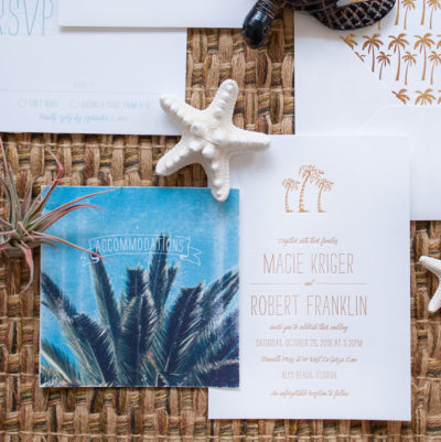 Palms on the Beach Wedding Invitation Suite