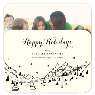 Ski Resort Skyline photo holiday cards