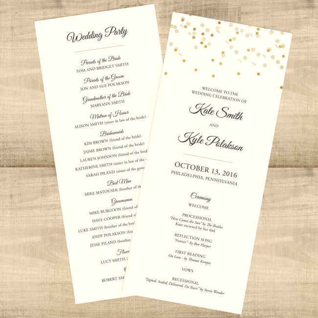 Gold Confetti Wedding Program