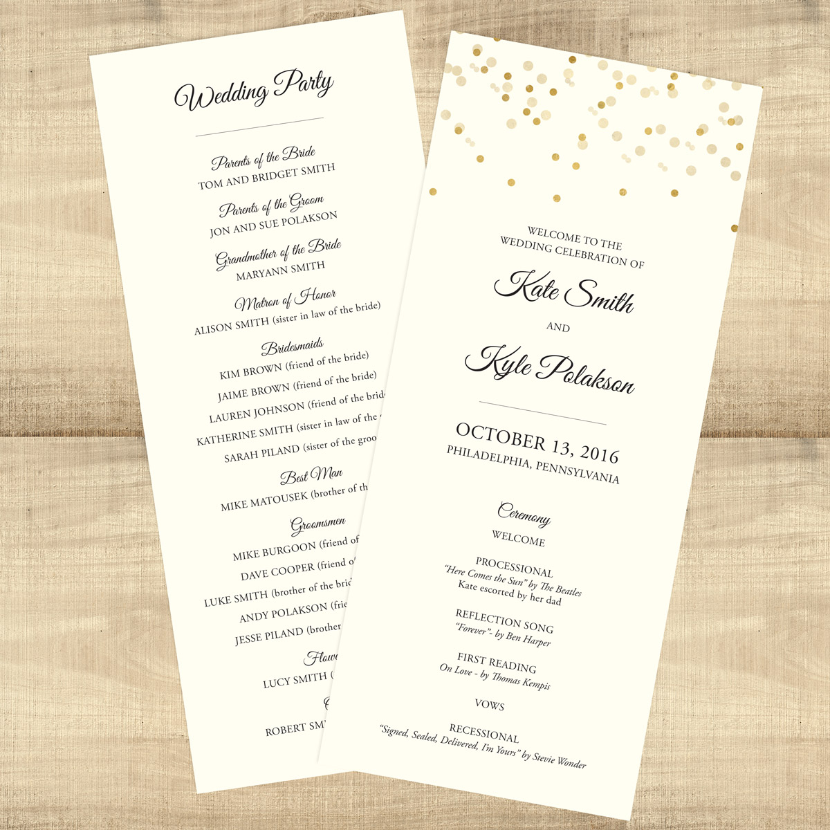 gold confetti double sided custom wedding programs pixie