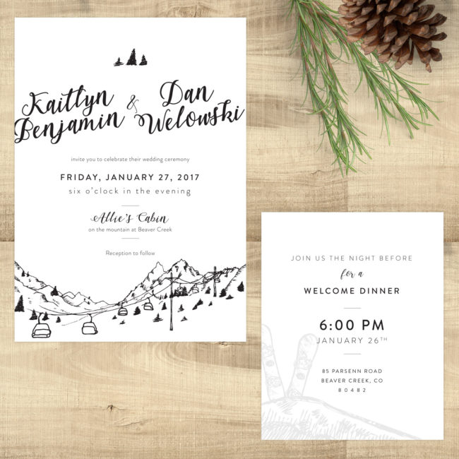 The Mountains Are Calling - Invitation & Reception Card