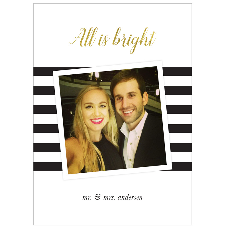 All is Bright - Gold and Black Photo Holiday Card