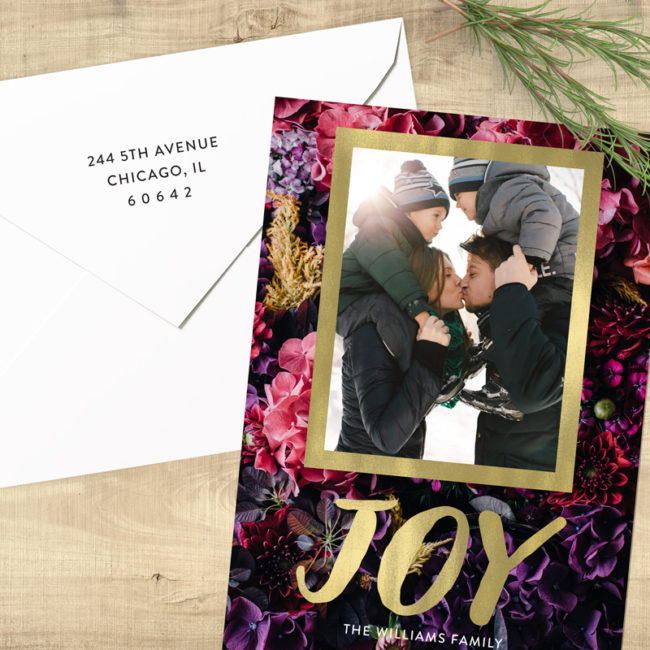 Floral Joy - Gold with Flowers Photo Holiday Card
