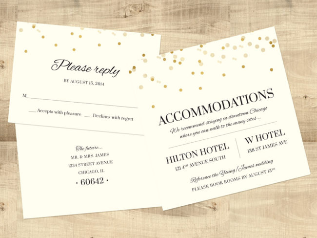 Gold Confetti Hotel and RSVP card