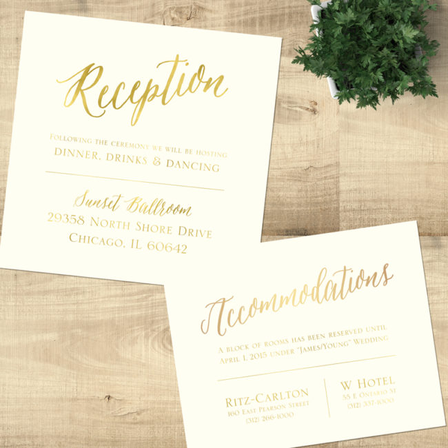 Gold Ornate - Reception & Hotel cards