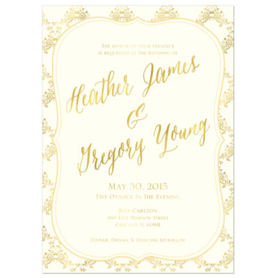 Gold Ornate Wedding Invitation