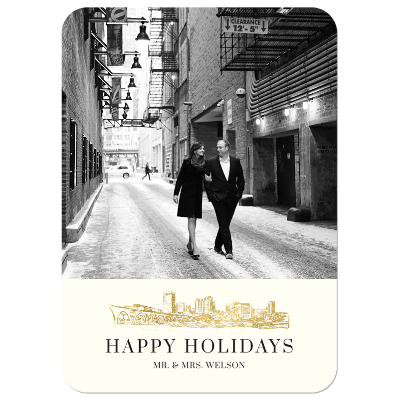 Merried - Gold Skyline Holiday Card