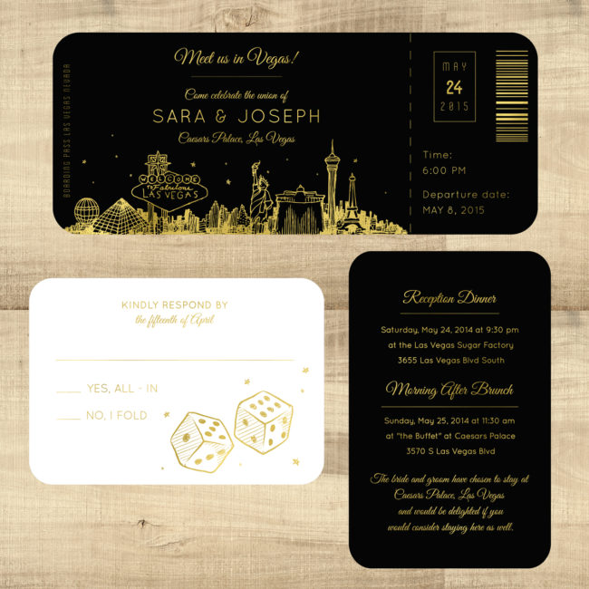 Foil Plane Ticket Wedding Invitations - Las Vegas