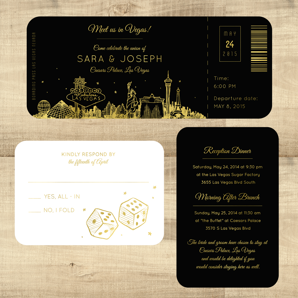 Foil Plane Ticket Wedding Invitations Las Vegas