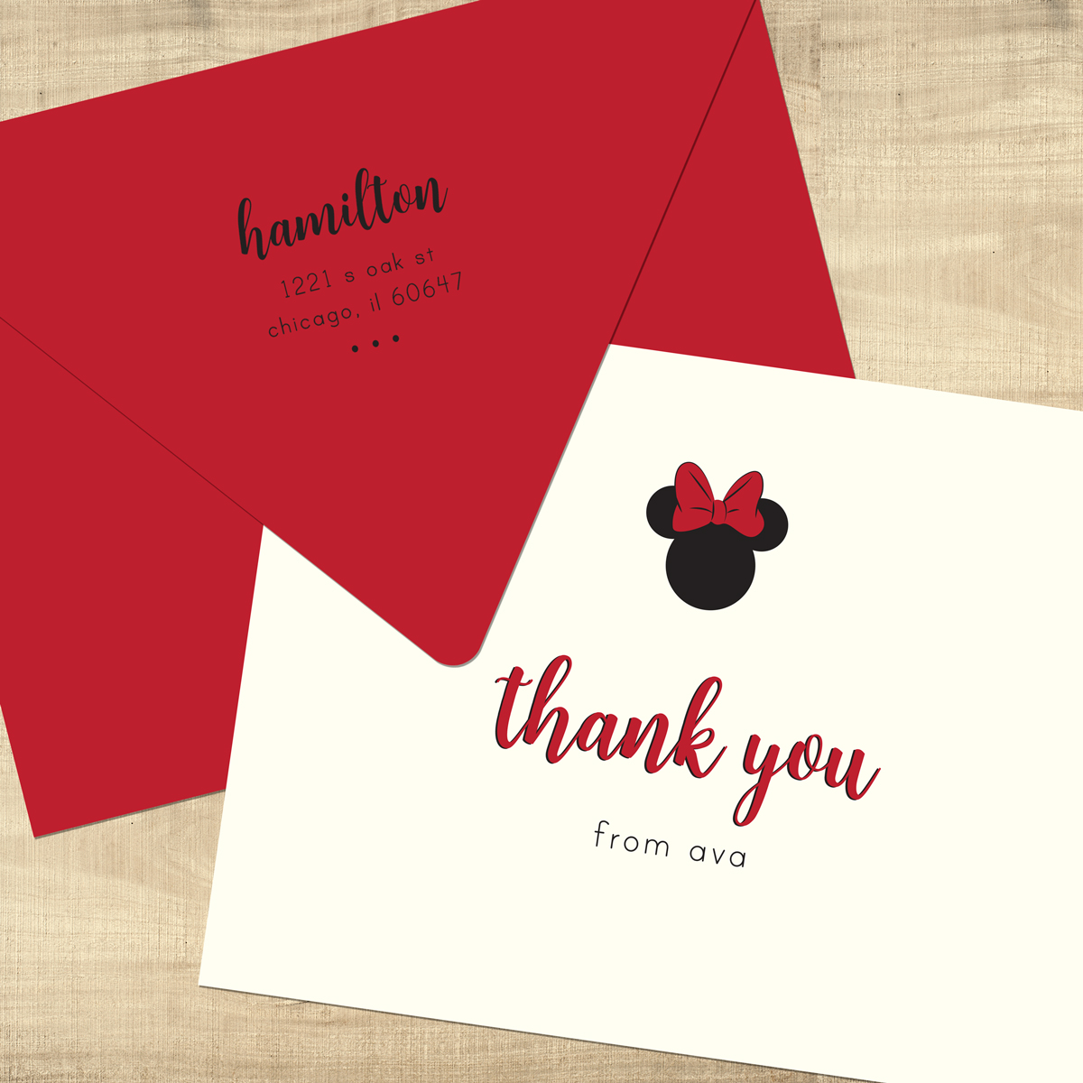 Minnie Mouse Thank You Cards - Pixie