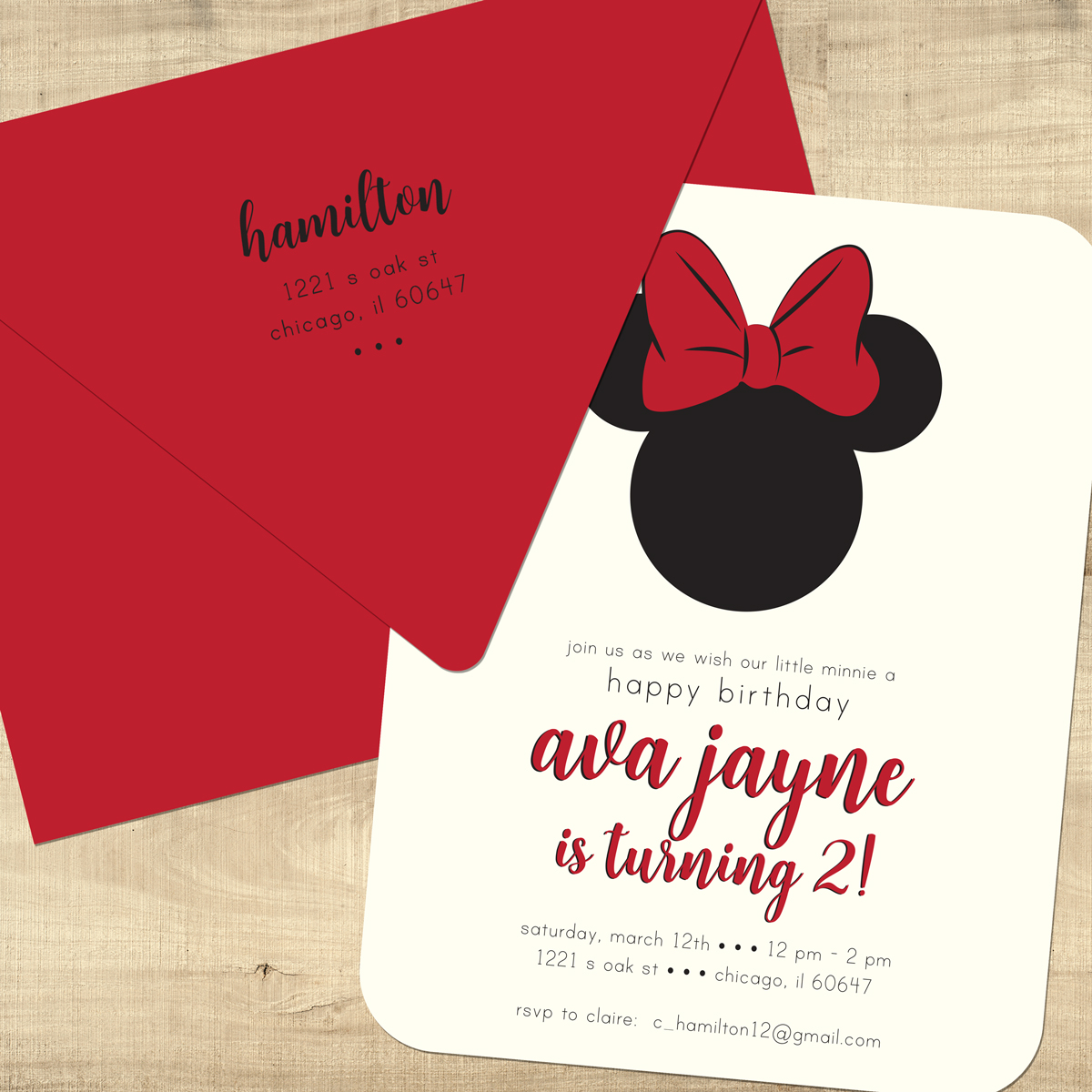 Red Minnie Mouse Birthday Invitations Print your own Digital Invite