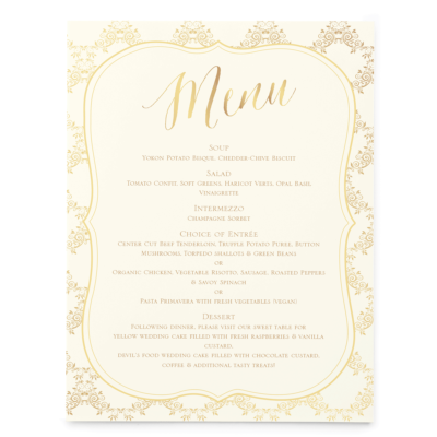 Gold Ornate Wedding Menu