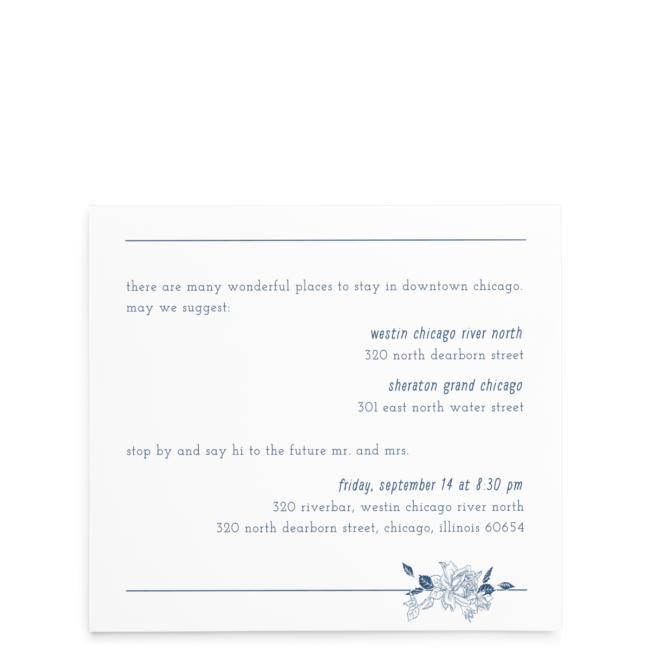 Linear Floral Wedding Invitation Suite - Reception card