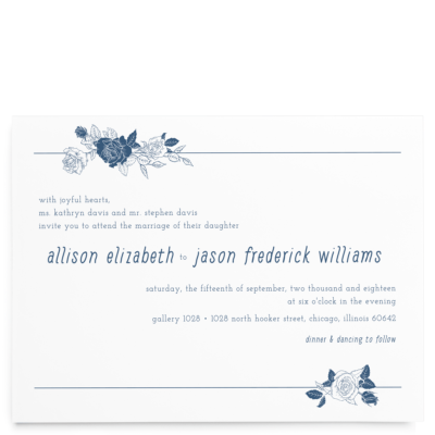 Linear Floral Wedding Invitation Suite