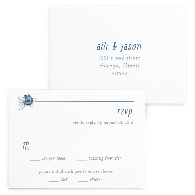 Linear Floral Wedding Invitation Suite - RSVP card