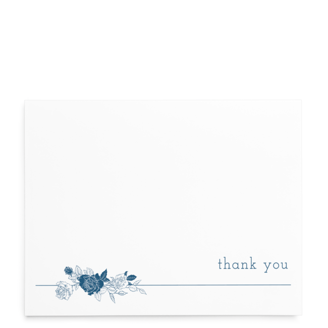 Linear Floral Thank You Card