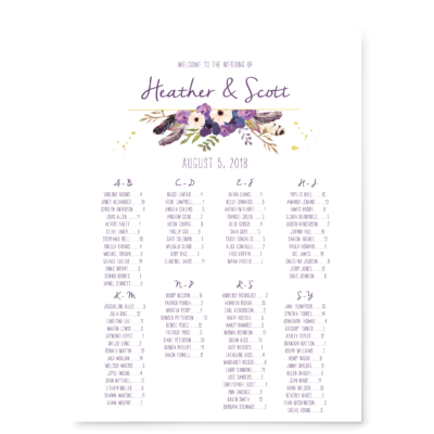 Gold Floral Boho Seating Chart