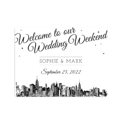 Diagonal Skyline Wedding Welcome Sticker 4x3""