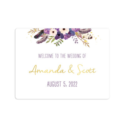 Gold Floral Boho Wedding Welcome Stickers 4x3""