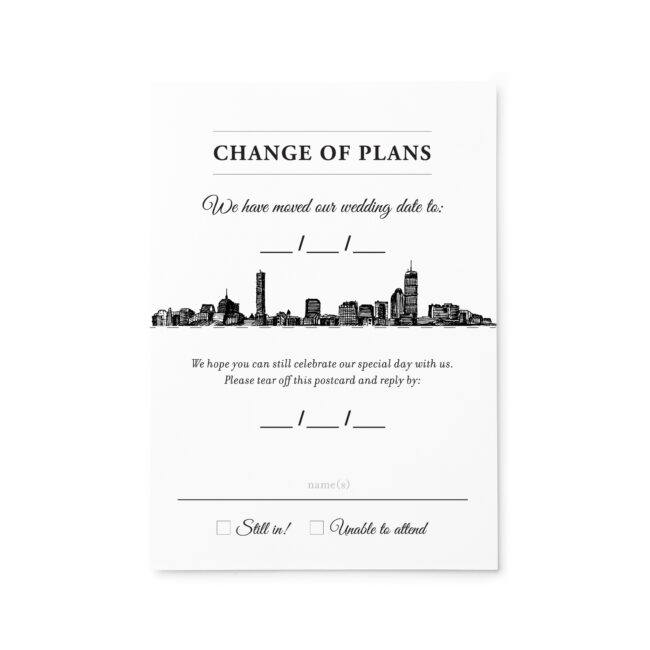 Change of Plans Invitation with Tear-away RSVP Card