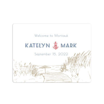Boardwalk Wedding Welcome Sticker 4x3""