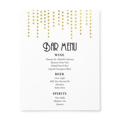 Chandelier Wedding Bar Menu