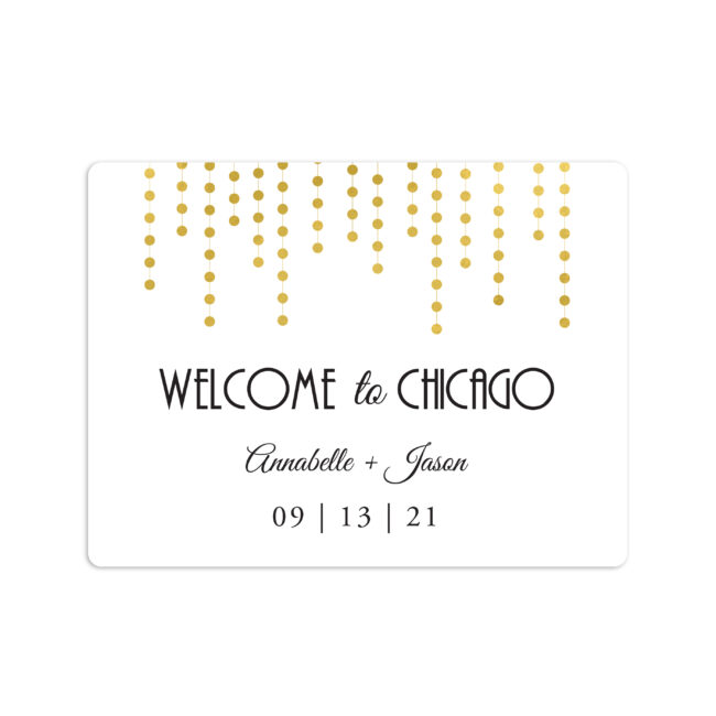 Chandelier Wedding Welcome Sticker 4x3""
