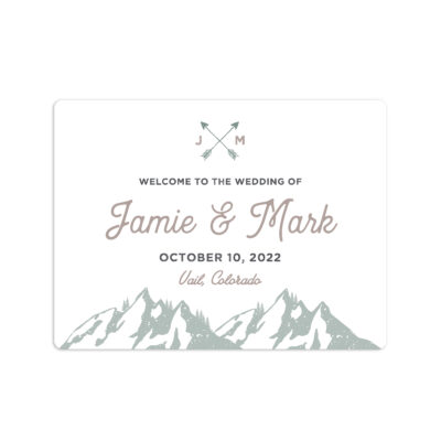 Forest Rustic Wedding Welcome Sticker 4x3""
