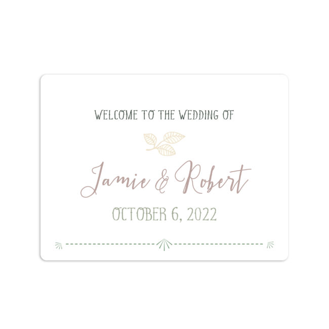 Garden Greens Wedding Welcome Sticker 4x3""