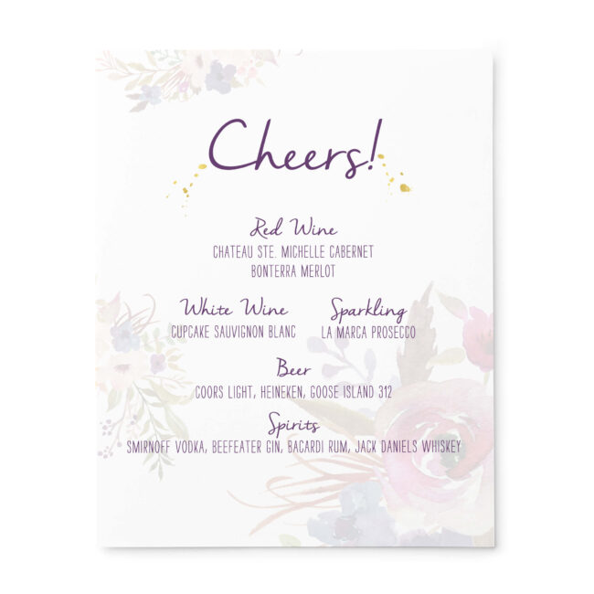 Gold Floral Boho Bar Menu