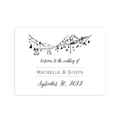 Mountain Skyline Wedding Welcome Sticker 4x3""