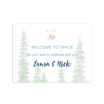 Mountain Top Wedding Welcome Sticker 4x3""