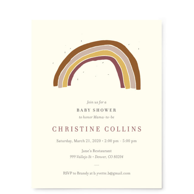 Front - Rainbow Boho Baby Shower Invitation