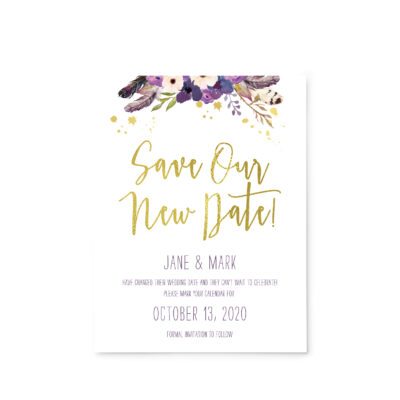 Save Our New Date - Gold Floral Boho