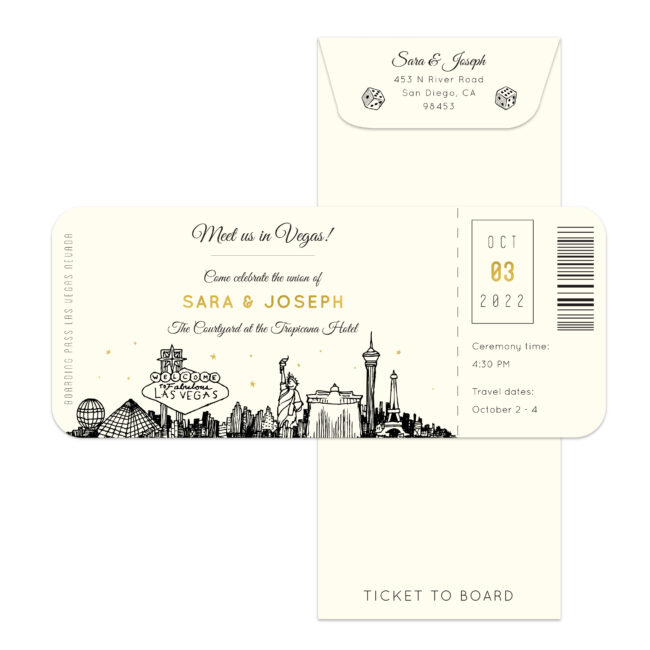 boarding pass style wedding invitation featuring a sketch of the las vegas skyline